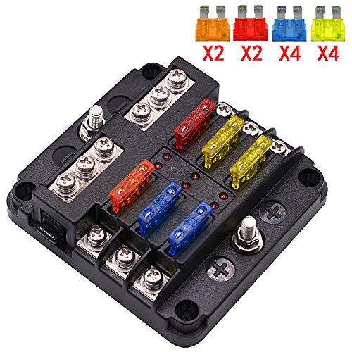 UMISKY 6-Way Fuse Box Blade Fuse Blocks with LED Warning Indicator Damp-Proof Cover for 12V/24V Automotive Car Truck Boat Marine Bus RV Van, 6 Circuit Independent Positive Negative