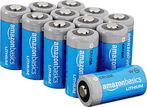 Amazon Basics 12-Pack Lithium CR123a 3 Volt Batteries, 10-Year Shelf Life, Easy...
