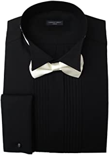 Clermont Direct Black Pleated Wing Collar Dress Shirt