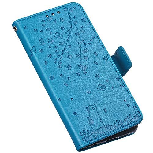 QPOLLY Compatible avec iPhone XR Coque, Élégant Fleurs Chat Motif Housse Portefeuille Cuir PU Flip Etui à Rabat Fermeture Magnétique Case avec Porte Carte Support Stand Fonction,Bleu