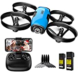 SANROCK U61W Drone with Camera for Kids Adult Beginner 720P HD & 2 Batteries, Mini Drone Toy Gift for Boy Girl WiFi FPV RC Quadcopter, Waypoints Fly, Headless Mode, Altitude Hold, Emergency Stop, Blue