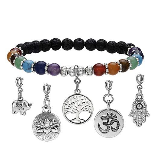 CrystalTears 7 Chakra Lava Armband Healing Reiki Edelstein Yoga Armreif Perlenarmband mit 5pcs Wechselbar Anhänger