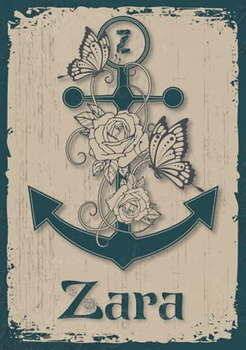 Zara: Notizbuch A5 | Personalisierter vorname Zara | Monogramm Z | Geburtstagsgeschenk für Frau, Mutter, Schwester, Tochter | Design Anker | 120 Seiten liniert, Kleinformat A5 (14,8 x 21 cm)