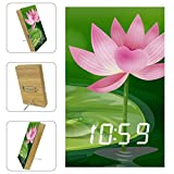 Home Digital LED White Alarm Clock A Bug Above The Waterlily Print, USB Charging Port, Sleep Timer Displays Date Temperature