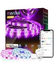 Meross Smart RGB Strip, wifi-ledstrip, werkt met Apple HomeKit, 12 V, IP20 stripverlichting, flexibele doe-het-zelf-band, werken met Siri, Alexa en Google, voor Kerstmis, feest, 5 m x 2