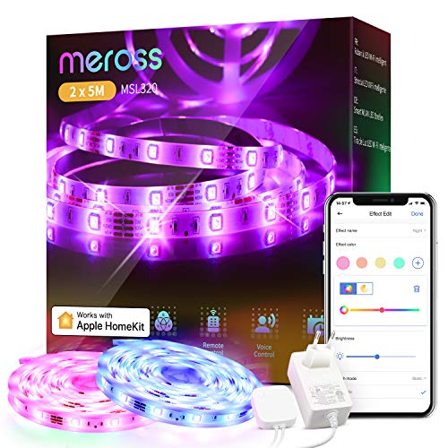 Tiras LED Wi-Fi Luces LED RGB 10M (5m*2), Tira de Luz IP20, 12V, Admite DIY. Compatible con HomeKit Siri, Alexa, Google Assistant y SmartThings. Decoración de la Habitación, meross.