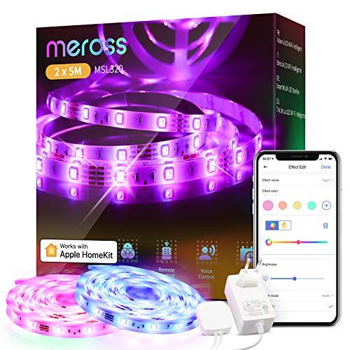 Tiras LED Wi-FiLuces LED RGB 10M (5m*2), Tira de Luz IP20, 12V, Admite DIY. Compatible con HomeKit Siri, Alexa, Google Assistant y SmartThings. Decoración de la Habitación, meross.