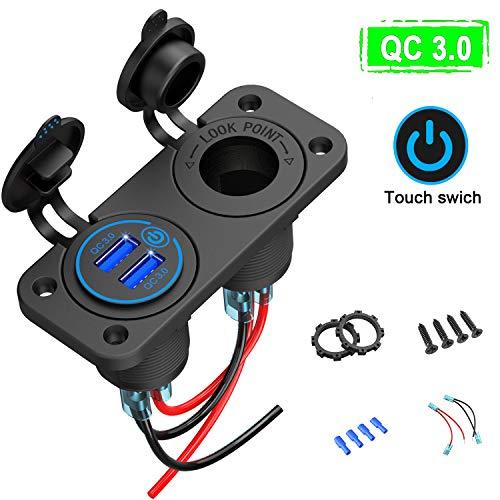 Quick Charge 3.0 USB Steckdose Auto mit Schalter, 12V-24V KFZ Ladegerät USB Einbau Buchse Wasserdicht Zigarettenanzünder Dose Adapter für Wippschalter Panel auf Motorrad Boot LKW Wohnwagen ATV