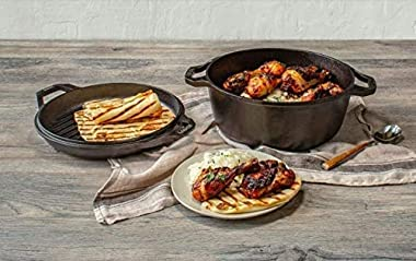 Lodge Chef Collection 6 Quart Cast Iron Double Dutch Oven. Seasoned and Ready for the Kitchen or Campfire. Cover Converts to