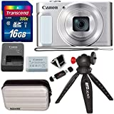 Canon PowerShot SX620 Digital Camera w/25x Optical Zoom - Wi-Fi & NFC Enabled (Silver), Transcend 16GB SDHC Memory Card, Bower SCX5500 Camera Case (Silver) and Accessory Bundle