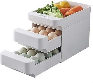 A Boîte à œufs 3 couches avec tiroir - Grande capacité - Rangement des œufs en plastique empilable pour réfrigérateur