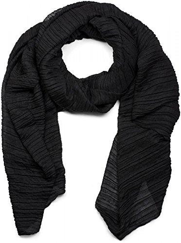 styleBREAKER gekreppter unifarbener Schal, Crash and Crinkle, Tuch, Plissee, Damen 01016107, Farbe:Schwarz