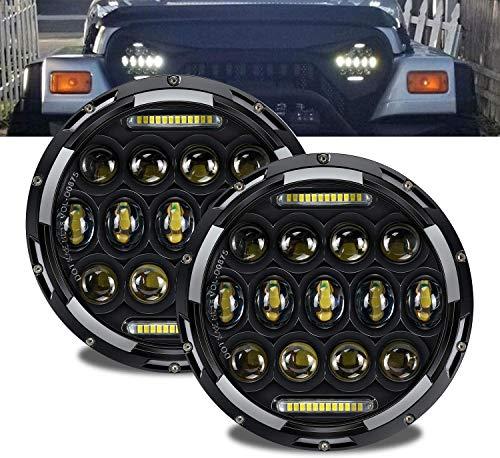 TURBO SII DOT Approved Pair 75W 7'Inch Round LED Headlights with DRL Hi/Lo Beam For Wrangler CJ-5 CJ-7 97-17 TJ LJ JK JKU Hummer H1 H2