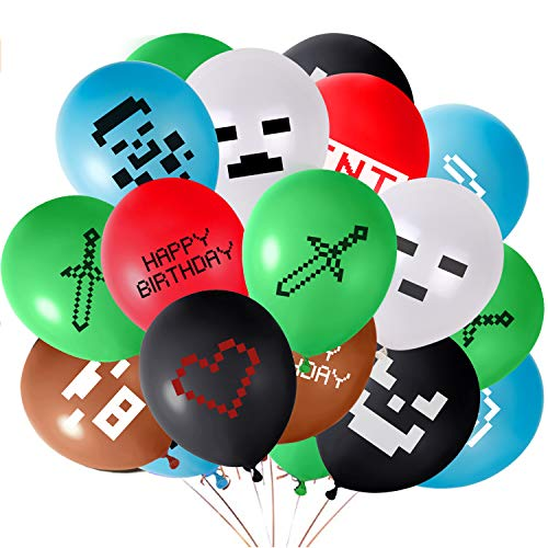 FEPITO 48PCS Video Game Party Luftballons 12 Zoll Gaming Geburtstag Luftballons für Miner Gamer Party Favors, 12 Verschiedene Muster