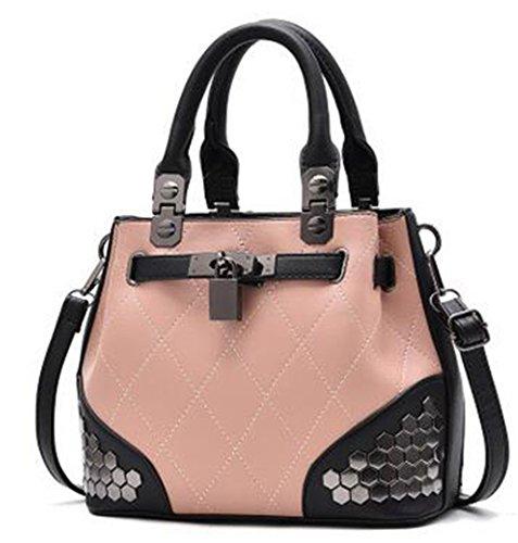 Tragetaschen Handtaschen Frauen Berühmte Winter Weibliche Handtasche Plaid Rivet Pailletten Messenger Schultertasche LL339 Pink 20cm*Max Length*30cm
