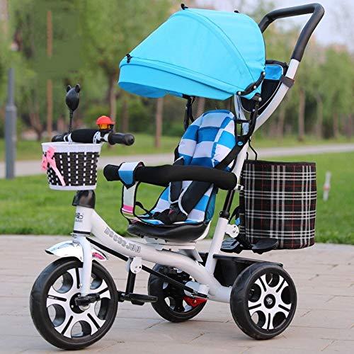 GWCD-STC Triciclos Triciclo para niños Asiento Giratorio 1-3-5 años Cochecito de bebé Bicicleta Cochecito Bicicleta con toldo Sillas de Paseo (Color : C)