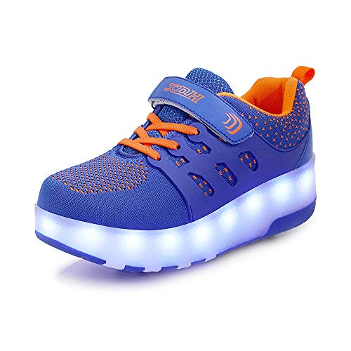 Ice-Beauty-ukzy Kids LED Roller Shoes, Double Wheels Flashing Luminous Skates, Adjustable Buttons, USB Charging Low Top Sneakers Retractable Technical, for Kids Best Giftsblue orange-28