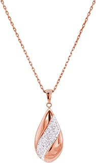 Bevilles Rose Stainless Steel Pave Crystal Teardrop Necklace Pendant