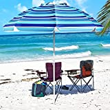 Aoxun 7' Portable Beach Umbrella with Tilt and Silver Coating Inside, Air Vent Parasol Sun Shelter, Carry Bag Included (Blue White Stripe & NO Sand Anchor)