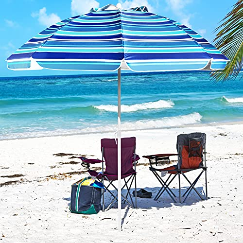 Aoxun 7' Portable Beach Umbrella with Tilt and Silver...