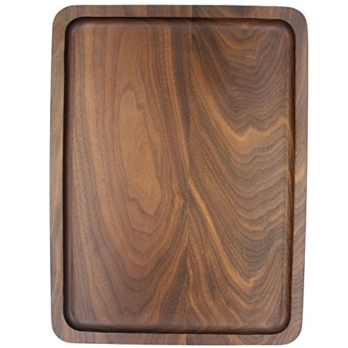 Bamber Wood Serving Tray Wooden Decorative Coffee Tea Platter Black Walnut 15.3 x 11.4 Inches