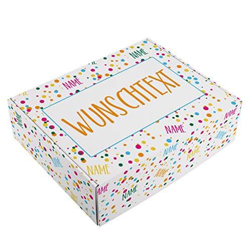Herz & Heim® Geburtstags Geschenk-Verpackung - 28 cm x 35,5 cm x 10 cm (B/H/T) - mit Ihren Namen und Wunschtext bedruckt
