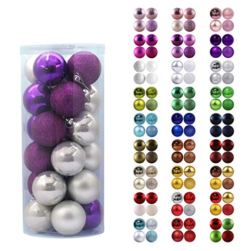GameXcel 24Pcs Christmas Balls Ornaments for Xmas Tree - Shatterproof Christmas Tree Decorations Large Hanging Ball Purple & Silver 2.5' x 24 Pack