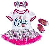 AGQT BambineAbito Pagliaccetto Coniglietto di Uova di Pasqua Il Mio Primo Vestito Tutu Pagliaccetto Pasquale con Scarpe Fascia Rosa Rossa 3-6 Mesi