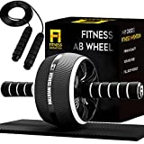 Fitness Invention Ab Roller Wheel - 3-in-1 Ab Wheel Roller with Knee Mat