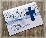 Einladung Einladungskarte Kommunion Konfirmation Firmung Taufe Kreuz blau