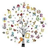 ufengke Adesivi Murali Alfabeto Albero Adesivi Muro Animali Lettere Bambini Asilo Nido Camera da Letto Decorazioni Parete