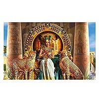 Suuyar エジプトの神とヒョウキャンバスアート抽象プリント絵画女性ポスターリビングルームの装飾のための壁の写真-60X90Cmフレームなし