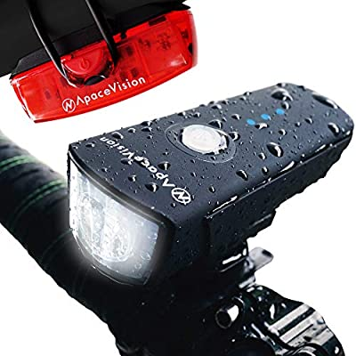 500 Lumens Bike Light Set USB Rechargeable - Powerful Bicycle Headlight & LED Tail Light Combo - Super Bright IPX5 Waterproof MTB Road Commuter Front and Back Cycle Lights by Apace