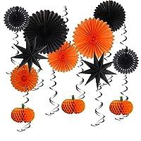 パーティーの装飾 ハロウィンパーティーの装飾用品キット提灯ティッシュペーパーファンハロウィンパーティー感謝祭の家の装飾