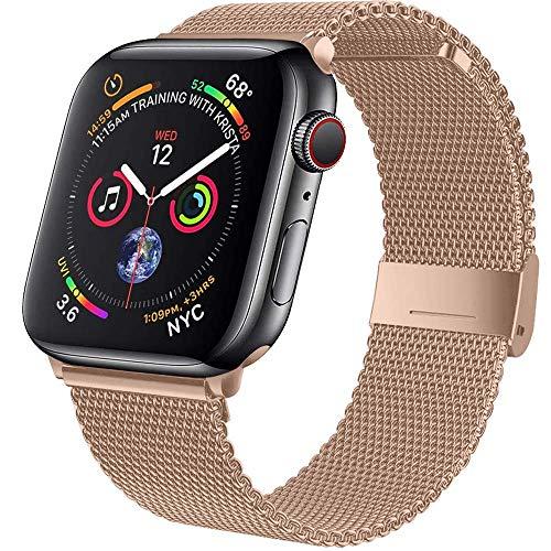 Wiselead Ersatzarmband kompatibel mit Apple Watch Armband 38mm 40mm, Edelstahl Metall Armband kompatibel mit iWatch Series 6/5/4/3/2/1/SE - Roségold