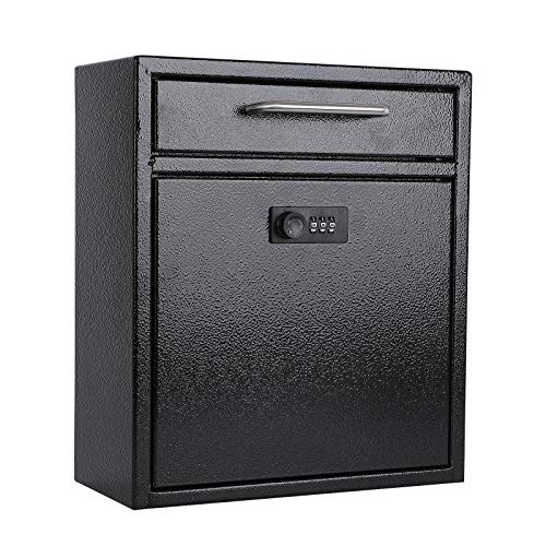 xydled Wall-Mount Mailboxes with Combination Lock, Hanging Secured Postbox, Ultimate Drop Box, Perfect for Deposits Payments Key and Letter Drops, Black, Medium