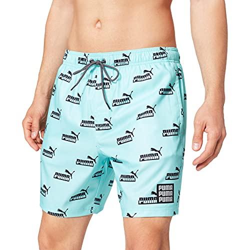 PUMA Swim Men's No. 1 Logo All-Over-Print Mid Shorts Bañador, Azul/Negro, S para Hombre
