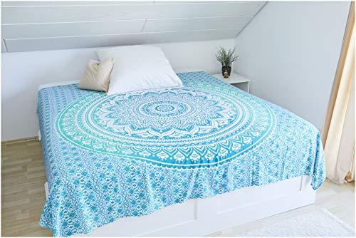 Collido Mandala Wandtuch aus Indien I 100prozent Baumwolle I ca. 210x220 cm I Indisches Bohemian Tuch I DEKO Wohnzimmer I Indischer Wandteppich als Überwurf oder Tagesdecke für Couch/Bett in Queen Size