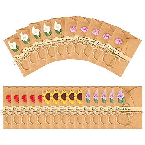 Jubaopen 25 Pcs Carta Kraft di Lettera Biglietto di Auguri con Buste Decorato Cartolina di Cartoncini Augurali con Fiori Secchi Fai da Te Per Compleanno Matrimonio Natale Festa -10.5 * 7cm