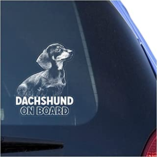 Dachshund Clear Vinyl Decal Sticker for Window, Doxie Dog Sign Art Design Print