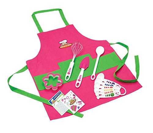 Curious Chef Children's 11-Piece Pink & Green Chef's Kit