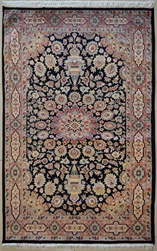 etnico Ardabil Teppich aus orientalischer Seide und Wolle, handgefertigt, 127 x 185 cm, Schwarz