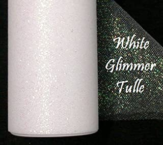 Wedding GLITTER Tulle Roll 6in x 30ft WHITE Sparkling Tulle (10 yards)