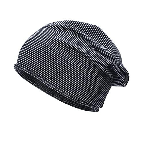 ManxiVoo Striped Slouchy Skull Cap Knit Beanie Baggy Hat Stretch Head Wrap Caps All-Match for Men Women (Black)