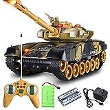 Kikioo Mini RC Tank Toy 2.4GHz Radio Télécommande Simulation Armée Kit De Combat Modèle USB avec Tourelle Rotative Panzer Char Son Recul Action Action Canon Artillerie Tir pour Enfants Cadeaux (Kaki)