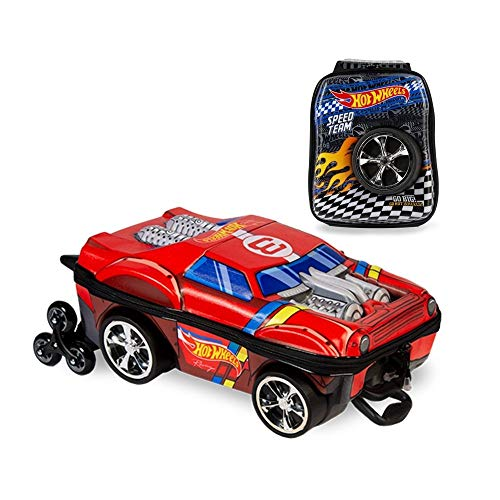 Kit Mochila 3D Infantil c/3 Rodinhas e Lancheira Hot Wheels Night Shifter