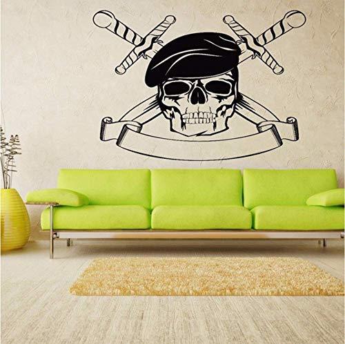 Messer Gekreuzte Schädel Grim Wandaufkleber Für Wohnzimmer Halloween Dekoration Vinyl Wandtattoos Schlafzimmer Kunst Poster 78X57 Cm