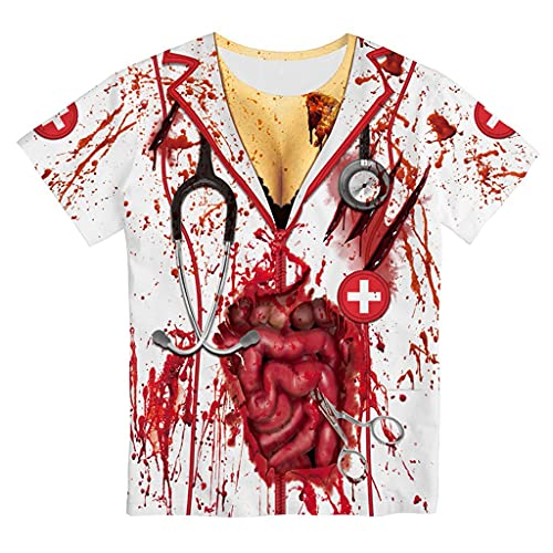 Unisex Halloween Horror Blood Coat Printed Fake Two Pieces Casual T-shirt Short Sleeve Theme Party Tops for Women Men Gift White