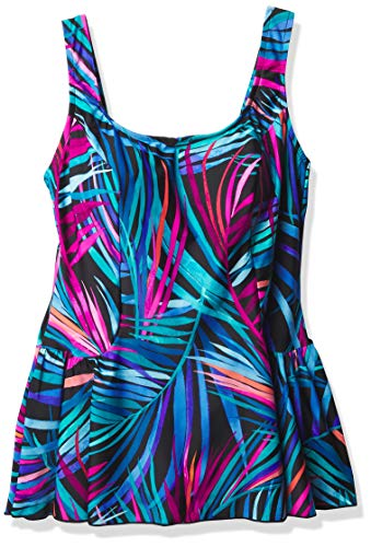 Maxine Of Hollywood Women's Seam Front Swim Dress One Piece Swimsuit, Multi//Jungle Party, 8