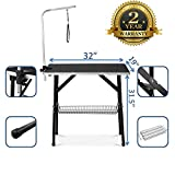 "Best Dog Grooming Tables - puppykitty 32"" Professional Dog Grooming Table w/Adjustable Arm Review"